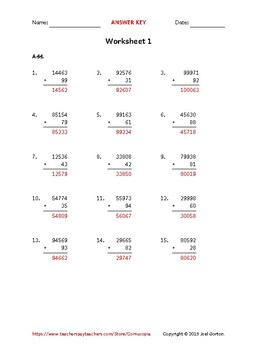 Add a 5-digit number to a 2-digit number (50 worksheets)