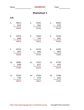 Add a 5-digit number to a 4-digit number (50 worksheets)