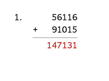 Add a 5-digit number to a 5-digit number (50 worksheets)