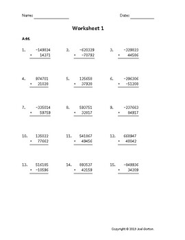 Add a 6-digit number to a 5-digit number with mixed negatives (50 worksheets)