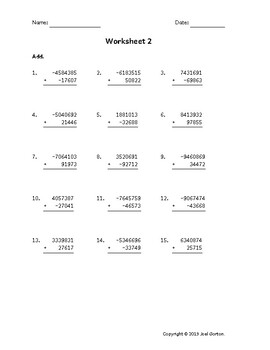 Add a 7-digit number to a 5-digit number with mixed negatives (50 worksheets)