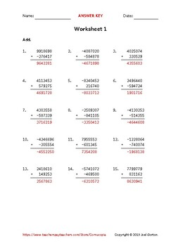 Add a 7-digit number to a 6-digit number with mixed negatives (50 worksheets)