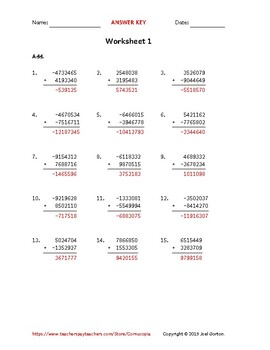 Add a 7-digit number to a 7-digit number with mixed negatives (50 worksheets)