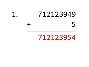 Add a 9-digit number to a 1-digit number (50 worksheets)