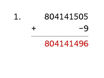 Add a 9-digit number to a 1-digit number with a negative (50 worksheets)