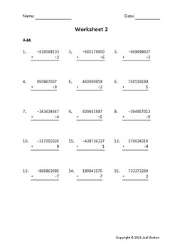 Add a 9-digit number to a 1-digit number with mixed negatives (50 worksheets)