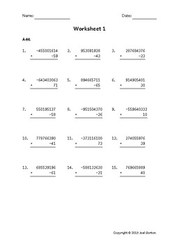 Add a 9-digit number to a 2-digit number with mixed negatives (50 worksheets)