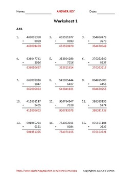 Add a 9-digit number to a 4-digit number (50 worksheets)
