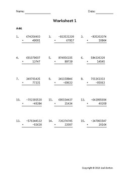 Add a 9-digit number to a 5-digit number with mixed negatives (50 worksheets)