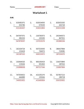 Add a 9-digit number to a 6-digit number (50 worksheets)
