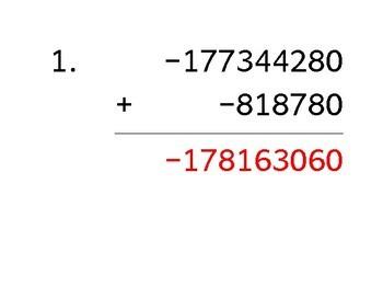 Add a 9-digit number to a 6-digit number with mixed negatives (50 worksheets)