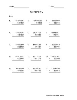 Add a 9-digit number to a 7-digit number with mixed negatives (50 worksheets)
