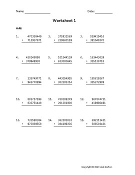 Add a 9-digit number to a 9-digit number (50 worksheets)