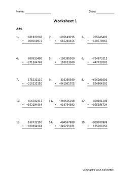 Add a 9-digit number to a 9-digit number with a negative (50 worksheets)