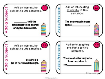 Add a Subject, Add a Predicate- 48 Task Cards