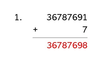 Add an 8-digit number to a 1-digit number (50 worksheets)