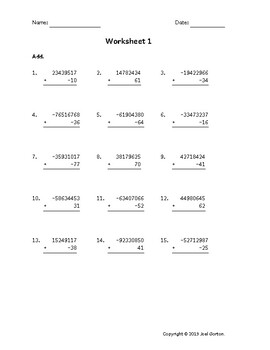 Add an 8-digit number to a 2-digit number with mixed negatives (50 worksheets)