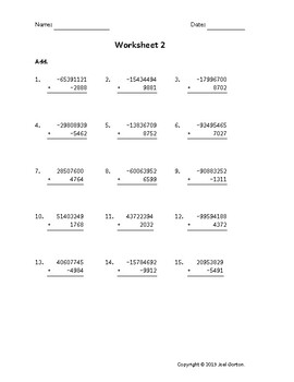 Add an 8-digit number to a 4-digit number with mixed negatives (50 worksheets)