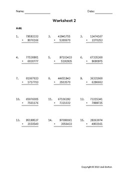 Add an 8-digit number to a 7-digit number (50 worksheets)