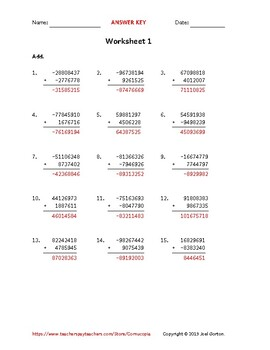 Add an 8-digit number to a 7-digit number with mixed negatives (50 worksheets)