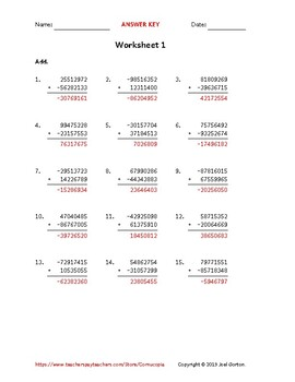 Add an 8-digit number to an 8-digit number with a negative (50 worksheets)