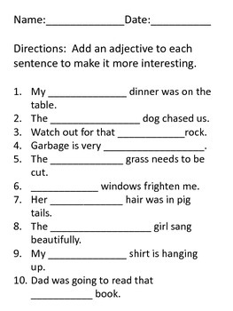 Add an Adjective- Grammar