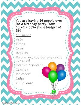 Add and Multiply Decimals Project: You're Planning a Party! 5th and 6th Grade