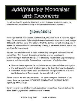 Add and Multiply Monomials with Exponents