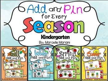 Add and Pin MATH CENTERS for every season (1-10,10's &1's) Color+Black/White