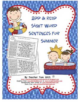 Add and Read Sight Word Sentences for Summer (Common Core Based)
