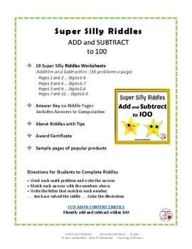 Add and SUBTRACT to 100 ...SUPER SILLY RIDDLES Grade 2 MATH Worksheets