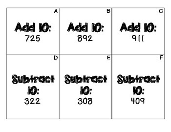 Add and Subtract 10 and 100 Scoot