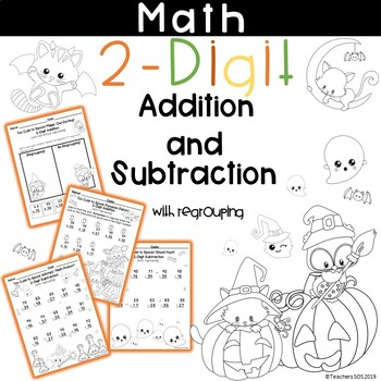 Add and Subtract 2-Digit Numbers with Regrouping Worksheet Halloween