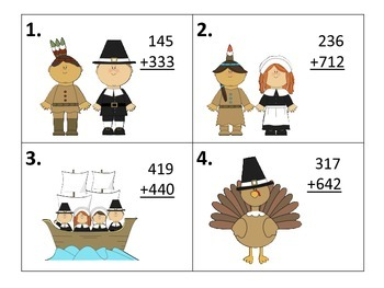 Add and Subtract 3 Digit Numbers With and Without Regrouping--Thanksgiving