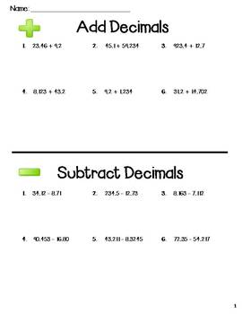 Add and Subtract Decimals