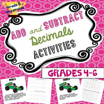Add and Subtract Decimals Activities for Fourth, Fifth, and Sixth Grades