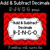 Add and Subtract Decimals BINGO