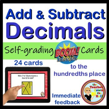 Add and Subtract Decimals - BOOM Cards! (24 Cards)