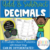Add and Subtract Decimals Differentiated Multiple Choice