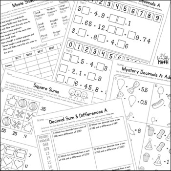 Add & Subtract Decimals Enrichment: Decimals Logic Puzzles