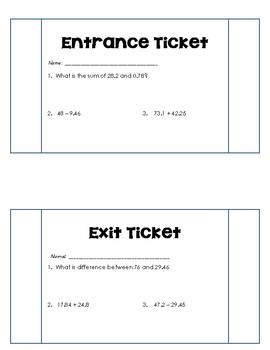 Add and Subtract Decimals Entrance and Exit Ticket