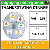 Add and Subtract Decimals Thanksgiving Game