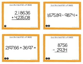 Add and Subtract Decimals Task Cards for 5th Grade