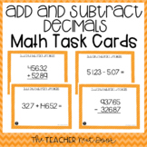 5th Grade Add and Subtract Decimals Task Cards
