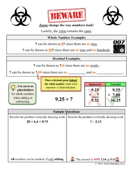 Add and Subtract Decimals Notes