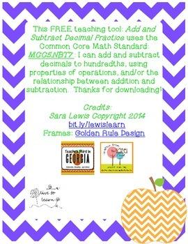 Add and Subtract Decimals Practice