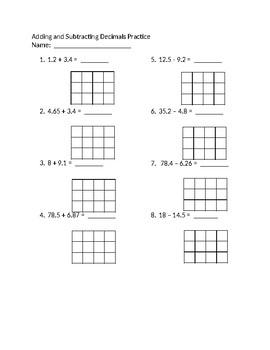 Add and Subtract Decimals Practice