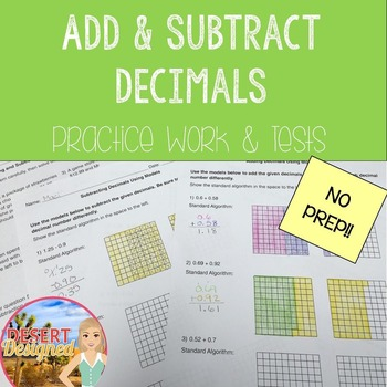 Add and Subtract Decimals Practice Work and Tests