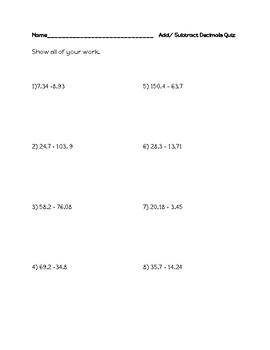 Add and Subtract Decimals Quiz