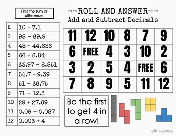 Add and Subtract Decimals Roll and Answer - 6.NS.3